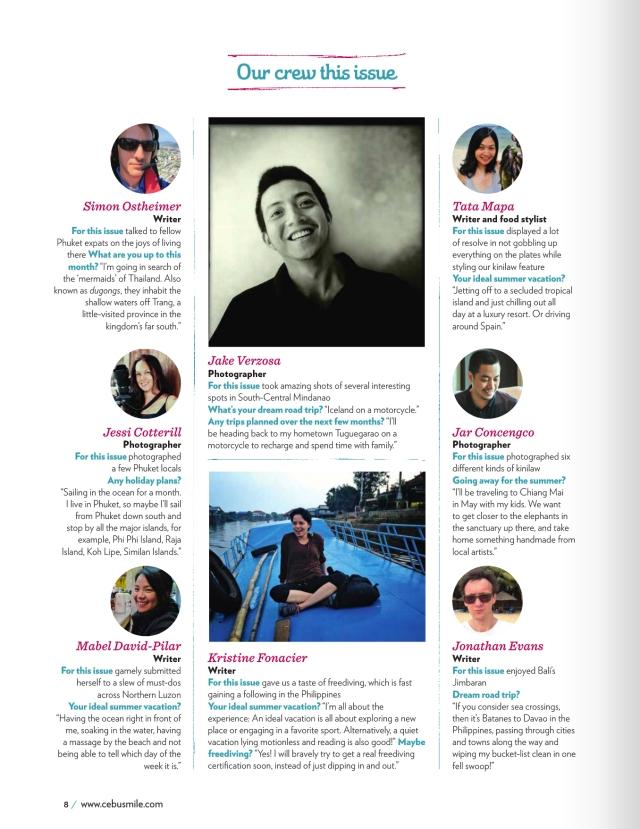 Smile Magazine April 2015 Contributor Page