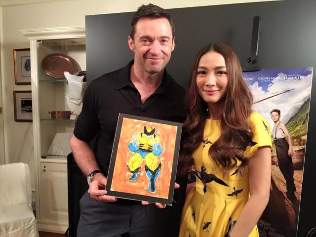 Marie Lozano and Hugh Jackman